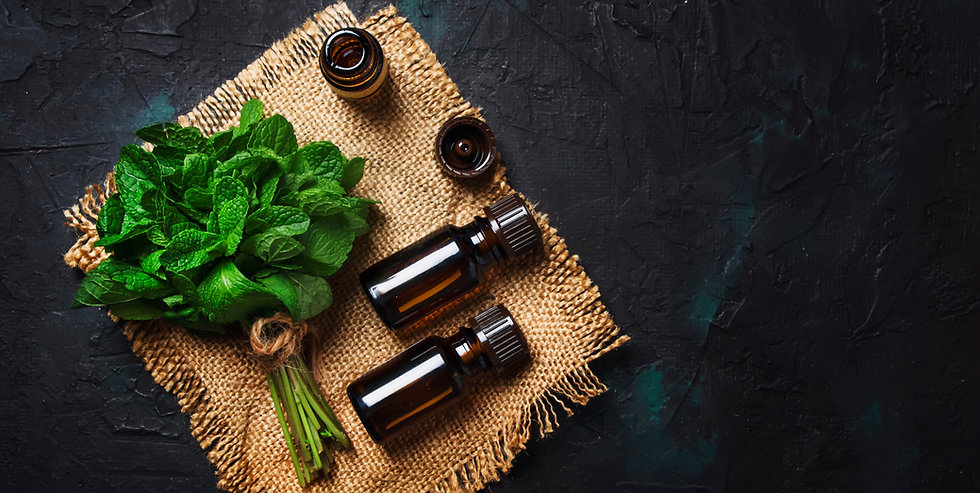 Essential oil of peppermint in a small b