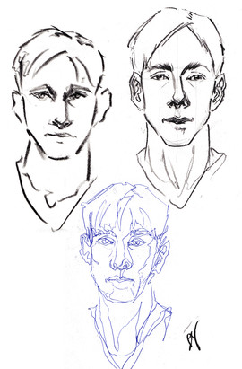 Drawings of Kyle, from photos; charcoal and ink