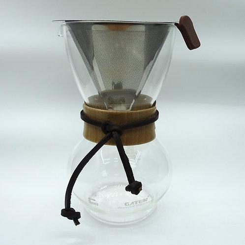 手沖濾泡咖啡耐熱玻璃壼 (連濾網)  Steel Permanent Filter Glass Coffee Maker 手沖壺套裝  滴濾玻璃冰咖啡壼 3杯份