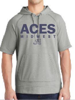 Aces Tri-Blend Wicking Short Sleeve Hoodie