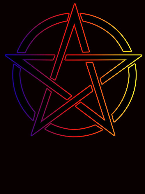 Pagan Witchcraft Wiccan Rainbow Pentacle Shirt