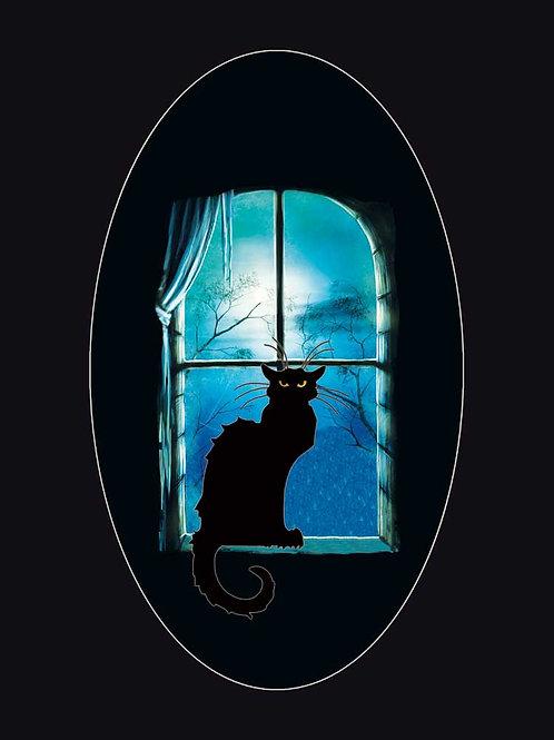 Witchcraft Familiar Cat in Moonlit Window Shirt