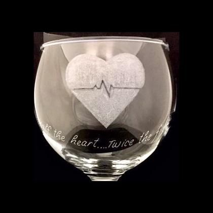 Heart awareness / Gin glass gift / Heart disease / hlhs