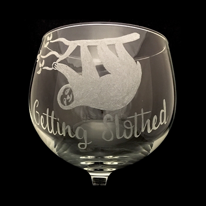 Sloth gifts / Engraved gin glass / Silver sloth /