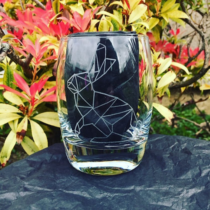 Engraved whisky glass / Woodland animals / Geometric hare / Whiskey gift for him