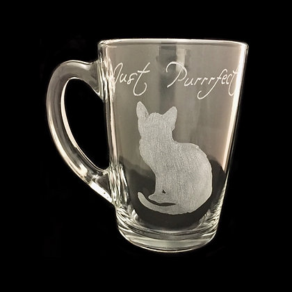 Cat coffee mug / cat lover gift / Personalised glass mug / cat mug / engraved