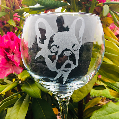 French bulldog Gin glass