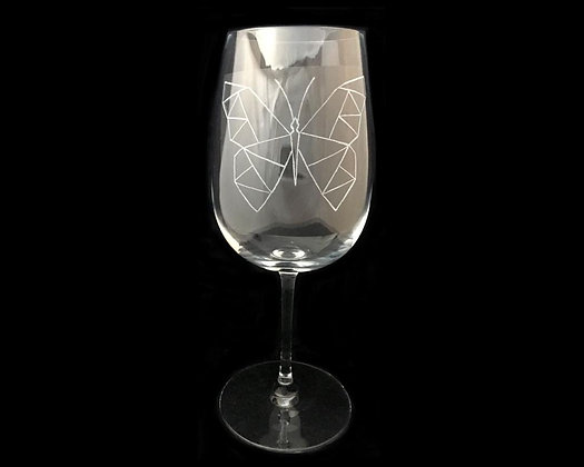 Woodland animals / Engraved wine glass / Geometric butterfly