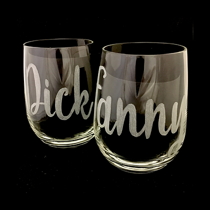 his and her glasses / funny wine glass / stemless wine glass / couples glasses /