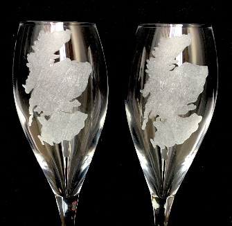 pair of Scotland champagne flutes