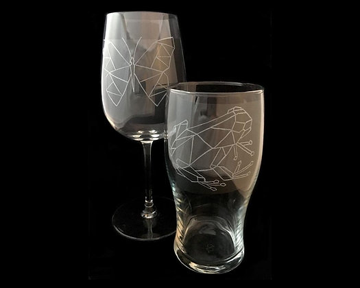 Couple glasses / Woodland animals / His and hers / Geometric animals