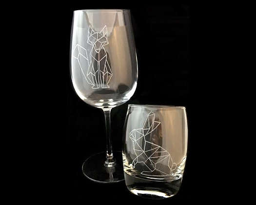 Gift for couple / Woodland animals /Geometric animals / Couple glasses