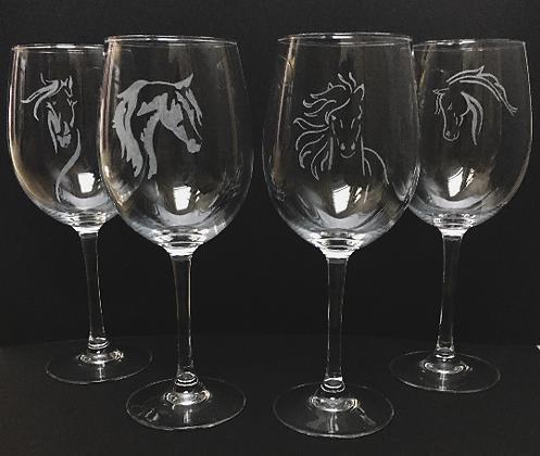 set of horse head wine glasses