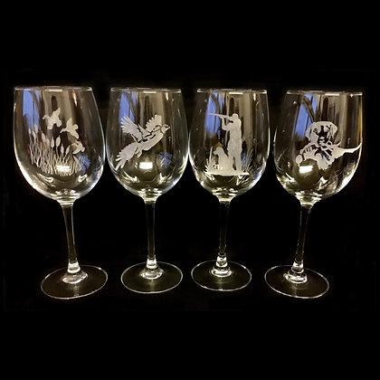 Hunting scene wine glasses