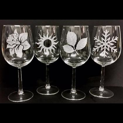 Four seasons / Wine lovers gift set / custom wedding gift / New house gift
