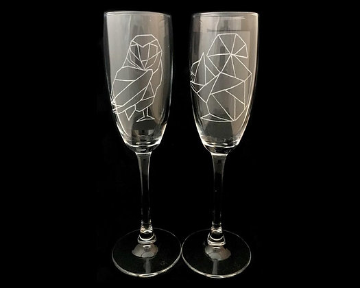 Engraved champagne glasses / Woodland animals / 3 year anniversary