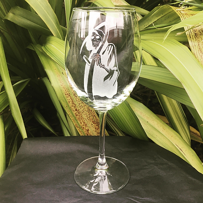 Grim reaper wine glass