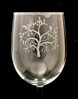 Tree engraved wine glass