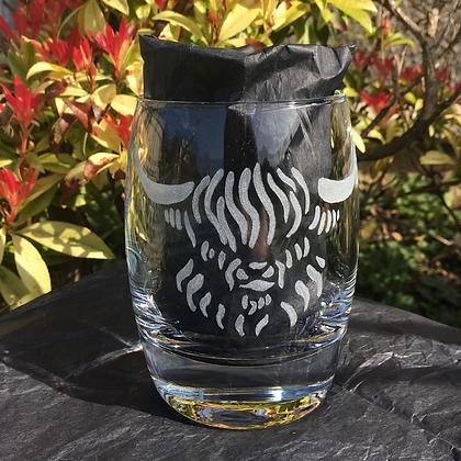 Highland cow / Custom whiskey glass / Scottish cow / Groomsmen glass