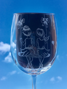 hand engraved personalised wine glass, perfect birthday gift idea for any wine drinker.