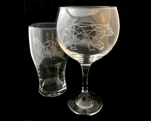 Couple glasses / Woodland animals / Geometric animals / His and hers gifts