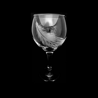 feather engraved gin glass