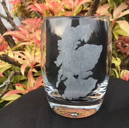 map of Scotland whiskey glass