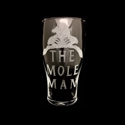 The mole man / Engraved pint glass / Pest control