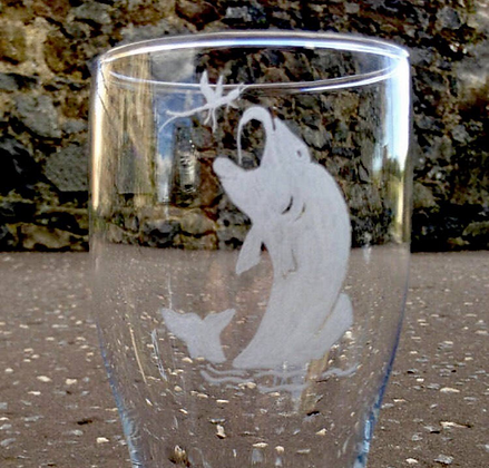 Fish jumping from water pint glass