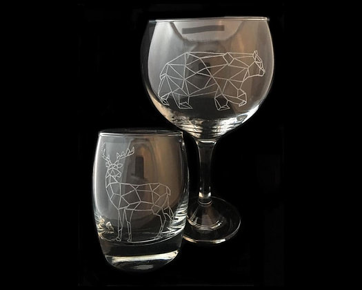Gift for couple / Woodland animals /Geometric animals / His and hers glasses
