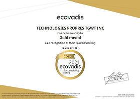 CSR TGWT Ecovadis Gold Certificate 2021