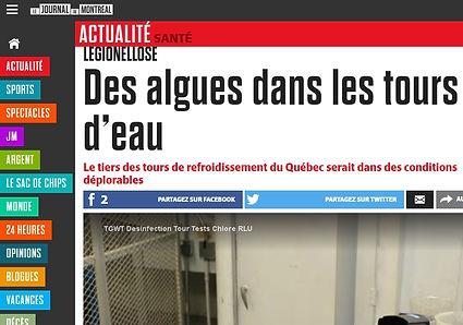 Image du Journal de Montréal Article sur la légionellose TGWT