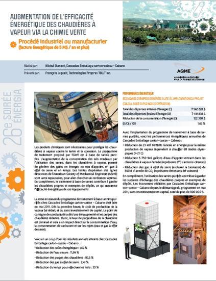 Aperçu du projet publié pour le concours Energia 2017 par l'AQME pour TGWT et Cascades Carton-Caisses - Cabano