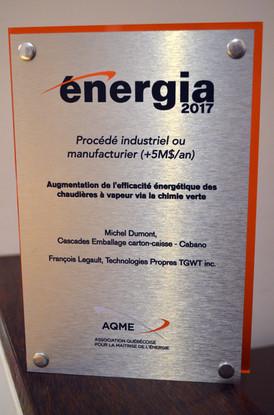 Le prix d'efficacité énergétique Énergia remporté par Cascades et TGWT
