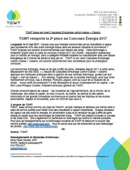 TGWT Energia 2017 Communiqué officiel