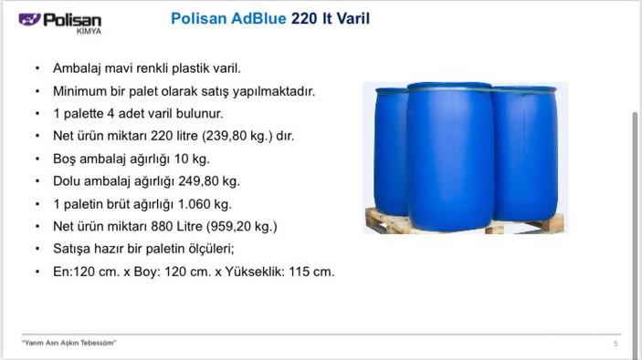 Polisan AdBlue 220 lt. Varil