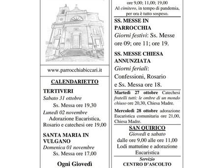 Foglietto settimanale parrocchiale 25 Ottobre 2020