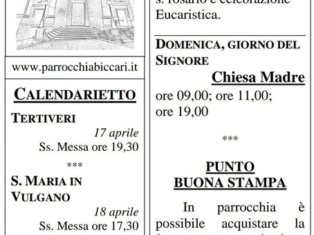 Foglietto settimanale parrocchiale 11 Aprile 2021