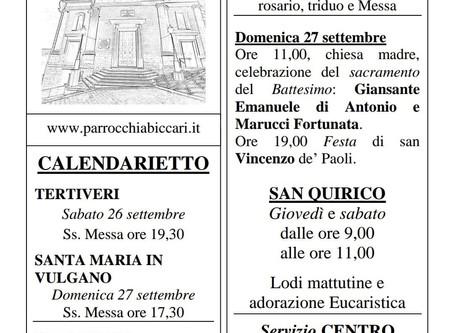 Foglietto settimanale parrocchiale 20 Settembre 2020