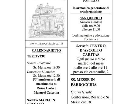 Foglietto settimanale parrocchiale 4 Ottobre 2020