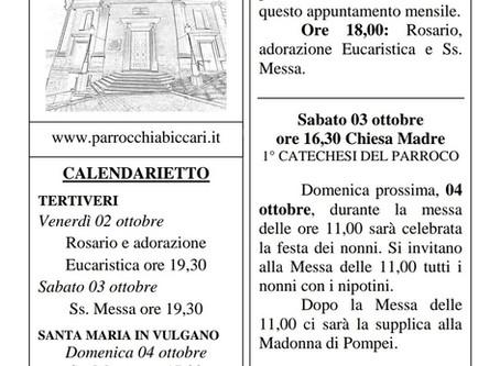 Foglietto settimanale parrocchiale 27 Settembre 2020