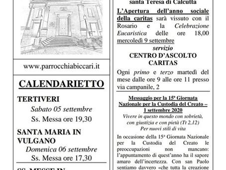 Foglietto settimanale parrocchiale 30 Agosto 2020