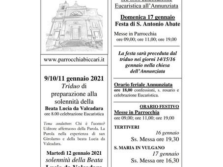 Foglietto settimanale parrocchiale 10 Gennaio 2021