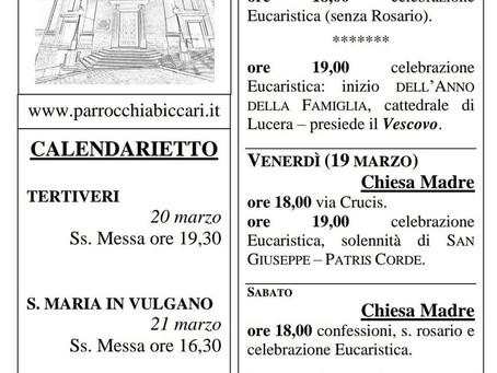 Foglietto settimanale parrocchiale 14 Marzo 2021