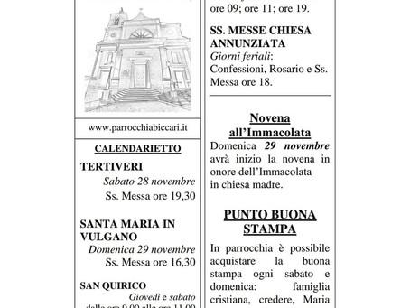 Foglietto settimanale parrocchiale 22 Novembre 2020