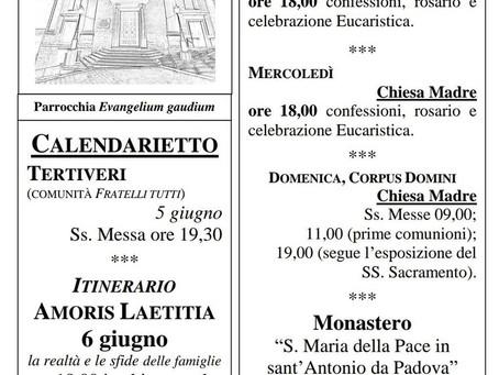 Foglietto settimanale parrocchiale 30 Maggio 2021