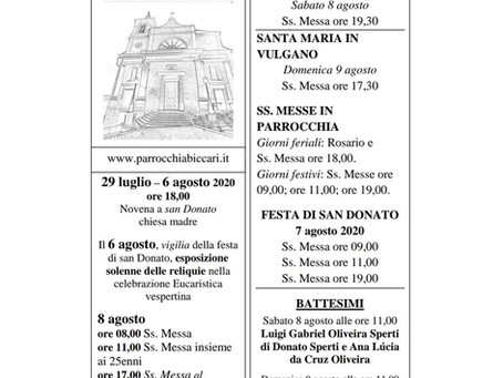 Foglietto settimanale parrocchiale 2 Agosto 2020