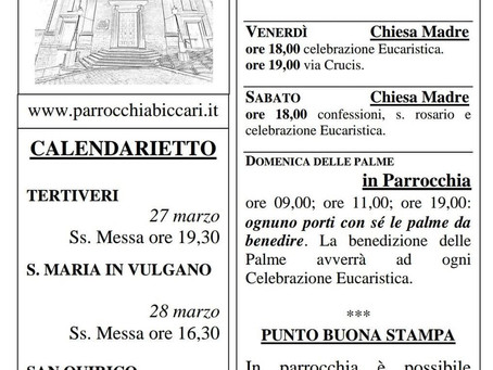 Foglietto settimanale parrocchiale 21 Marzo 2021