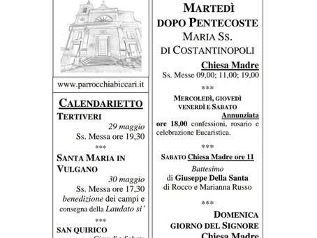 Foglietto settimanale parrocchiale 23 Maggio 2021