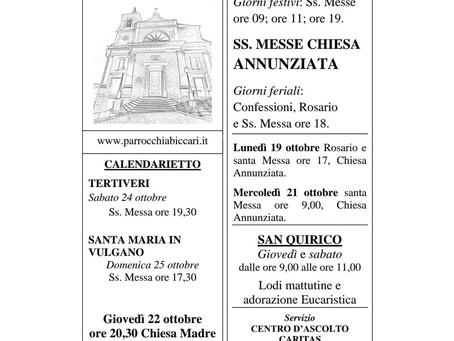 Foglietto settimanale parrocchiale 18 Ottobre 2020